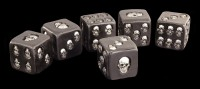 Black Dices with Skulls large - Set of 6