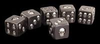 Schwarze Würfel mit Totenköpfen groß - 6er Set