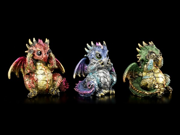 Small Dragon Figurines Set of 3 - No Evil