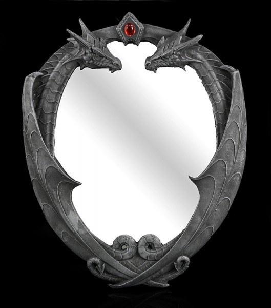 Drachen Wandspiegel mit Schmuckstein