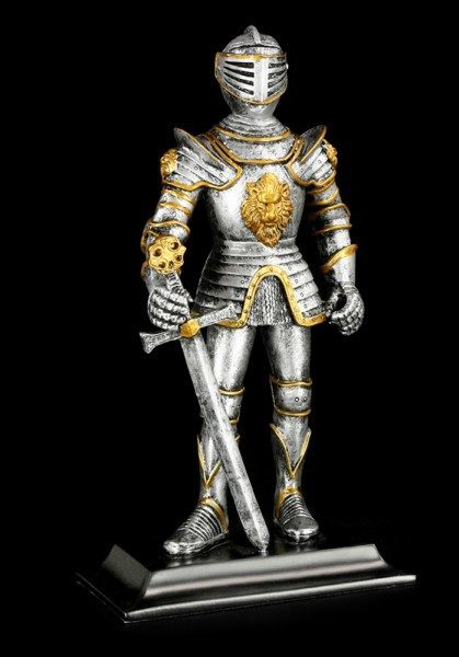 Knight Figurine with Sword - Golden Lion