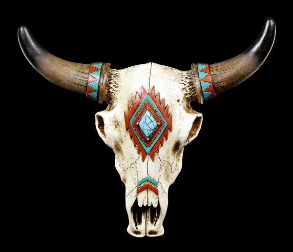 Wall Ornament - Cattle Skull with Indian Symbols