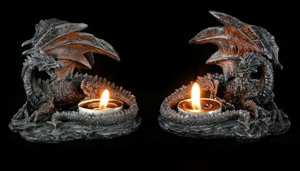 Tealight Holder Dragon - Set of 2