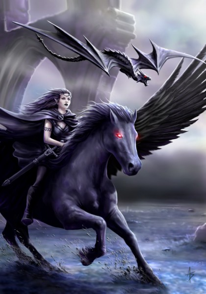 Gothic Greeting Card Pegasus - Realm Of Darkness