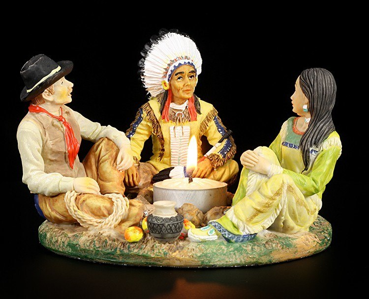 Wild West Tealight Holder - Indian and Cowboy