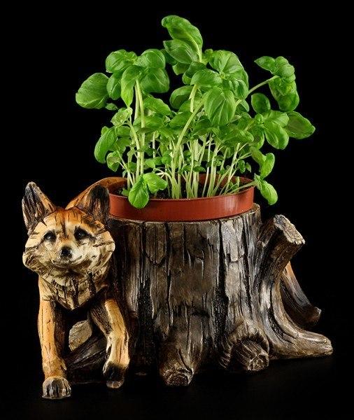 Gartenfigur Fuchs - Blumentopf in Holzoptik