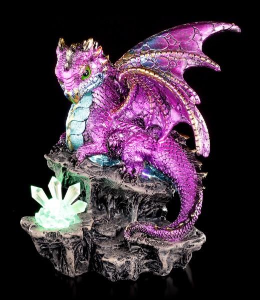 Drachen Figur rosa mit LED - Scython mit Kristallen