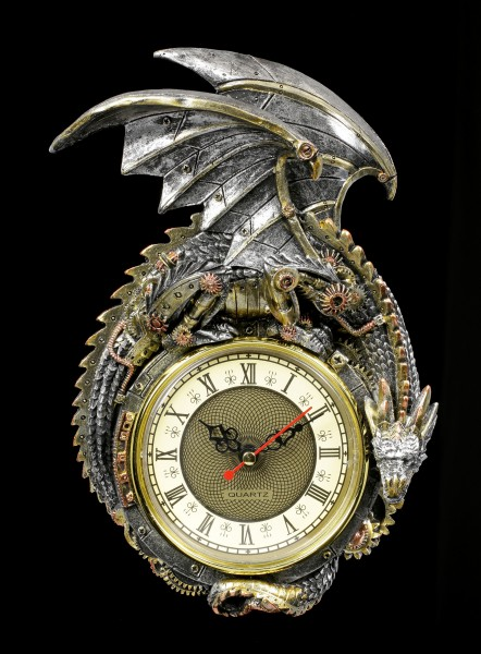 Steampunk Dragon Wall Clock - Clockwork Protector