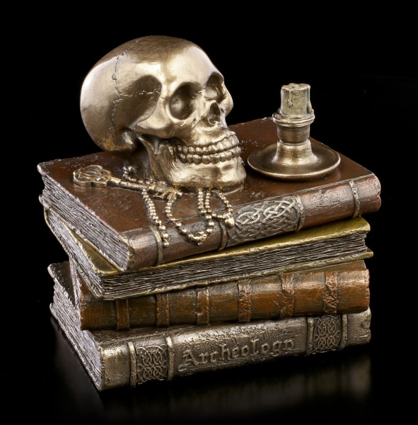 Schatulle - Totenkopf auf alten Büchern