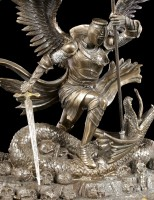 St. George Figurine with Dragon - Psalm 23 - bronzed