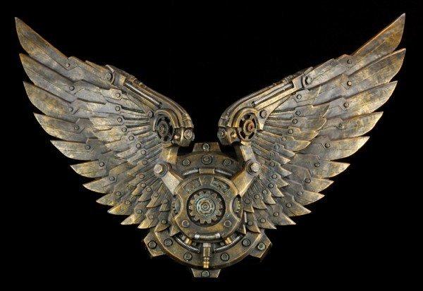 Großes Wandrelief - Steampunk Flügel