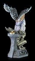 Teelichthalter - Dark Angel Figur mit Eule auf Gargoyle