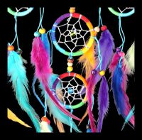 Multicoloured Dreamcatcher with Rainbow Feathers