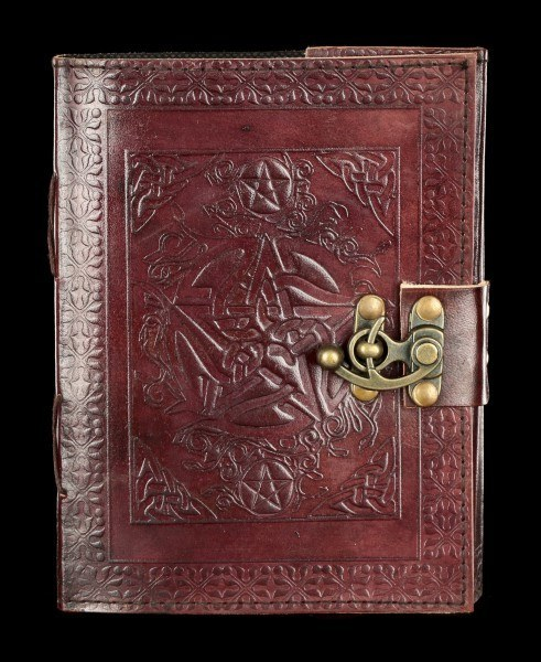Leather Journal with Lock - Pentagram and Ornament