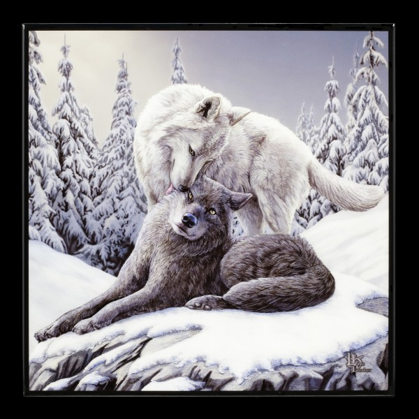 Small Crystal Clear Picture with Wolves - Snow Kisses