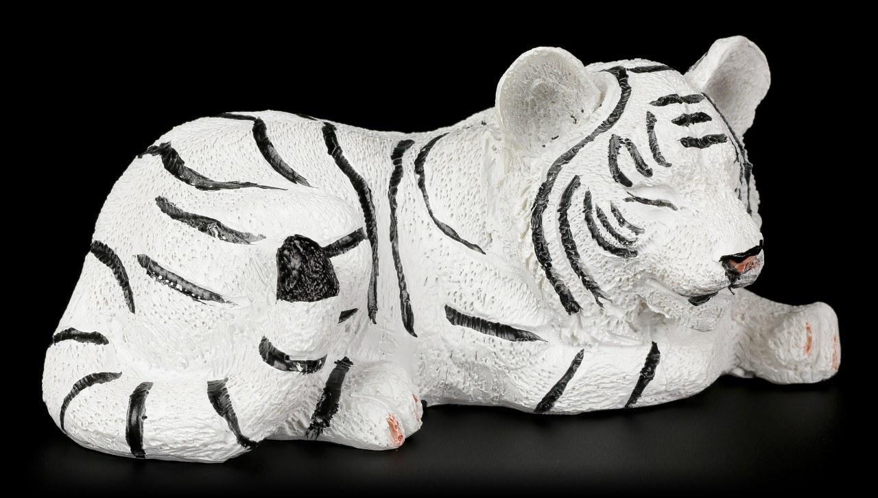 Weiße Tigerbaby Figur - Schlafend auf dem Boden