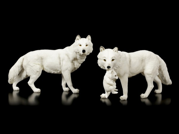 Wolf Figurines - Snow Wolves Family
