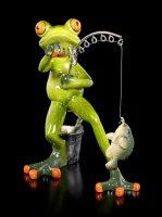 Lustige Frosch Figur beim Angeln
