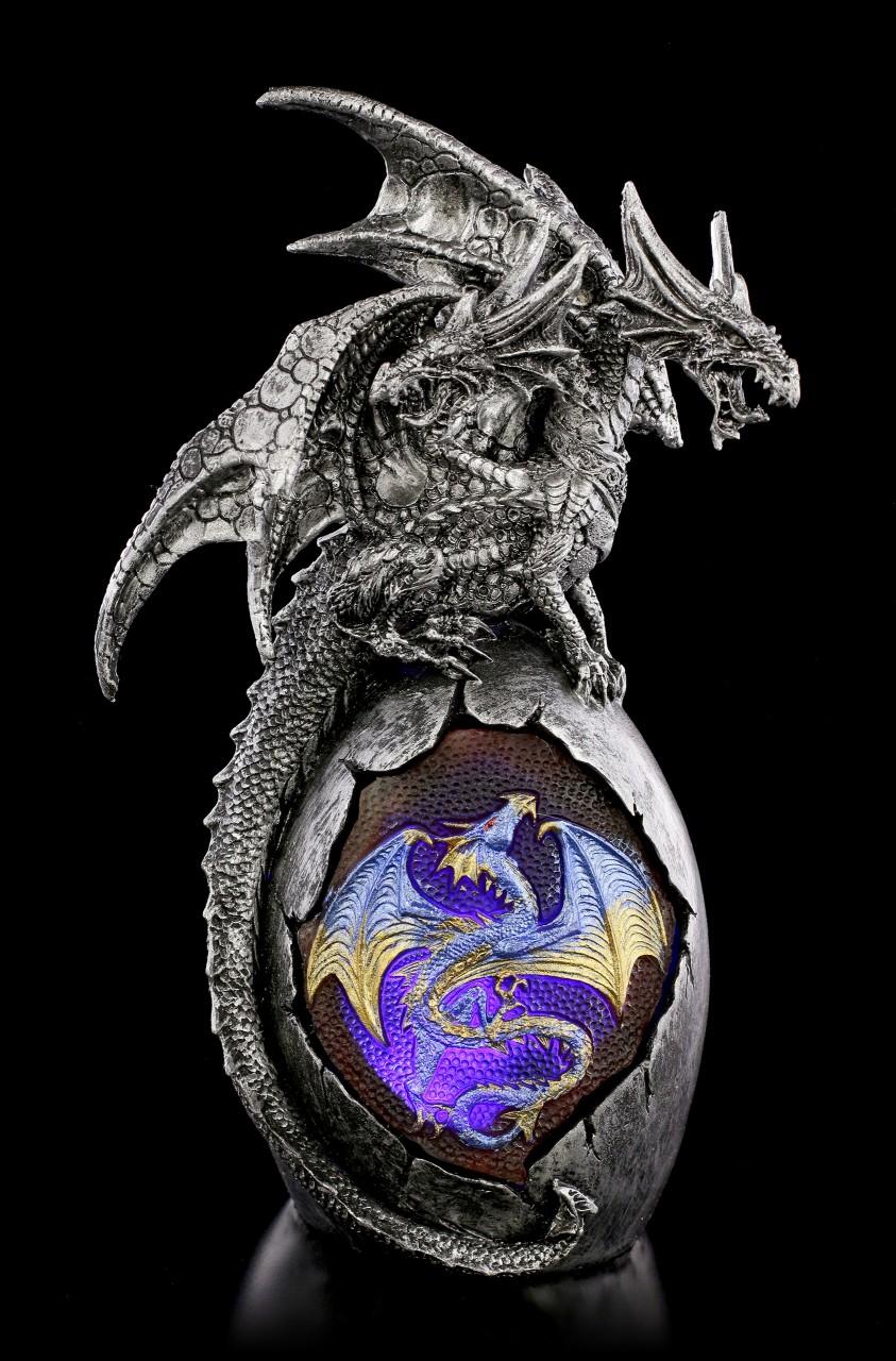 Drachen Figur - Aijonis auf Ei mit LED