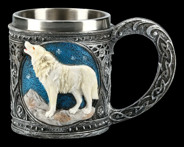 Fantasy Tankard - Howling Lone Wolf white