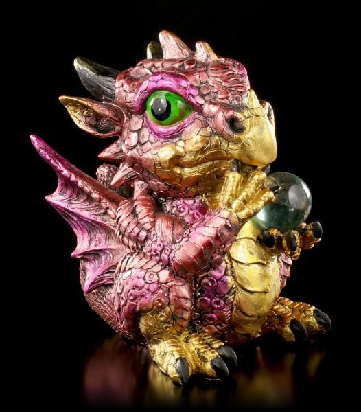 Drachen Figur rot - Flame mit Kristallkugel