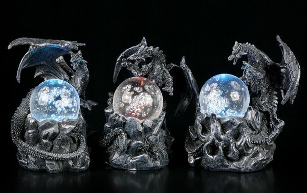 Black Dragon Figurines with LED Ball - Set of 3
