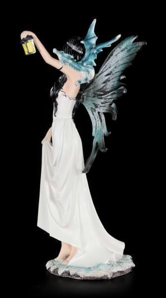 Weiße Elfen Figur mit Laterne und Drachenbaby
