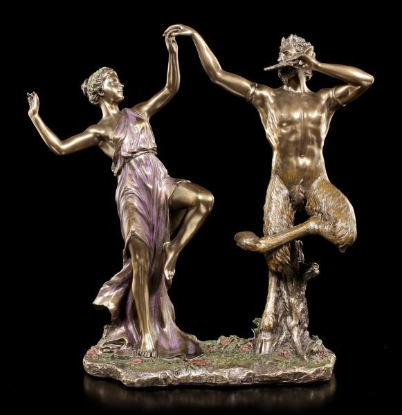 Pan Figur tanzend mit Nymphe