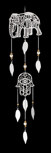 Metal Dreamcatcher - Hamsa Elephant - white