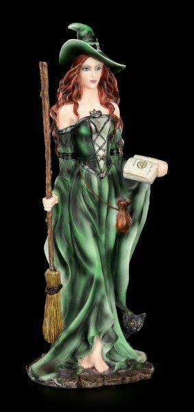 Grüne Hexen Figur - Absynthia mit schwarzem Kater