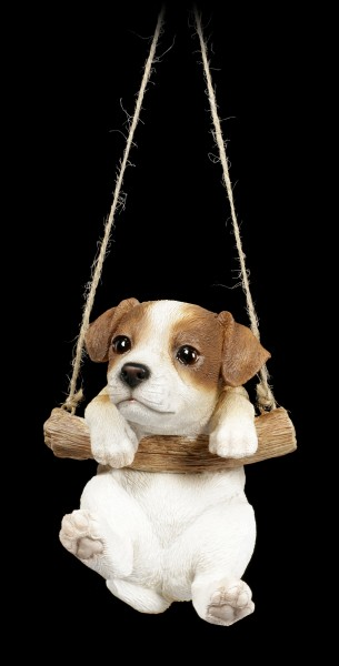 Garden Figurine - Jack Russel hanging on swing