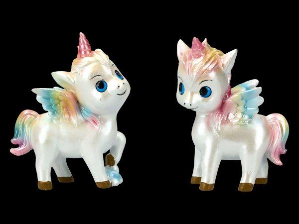Unicorn Figurines with Rainbow Forelock - Set of 2