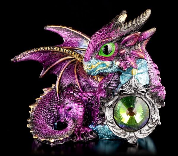 Drachen Figur rosa - Oberon mit Kristall