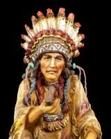 Indianer Häuptling Figur mit Friedenspfeife