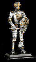 Knight Figurine with Spike Mace & Shield