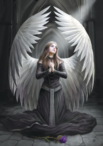 Fantasy Greeting Card Gothic Angel - Prayer For The Fallen