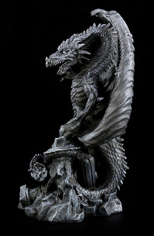 Gro e schwarze drachen figur annihilator dragon for Drachen dekoration