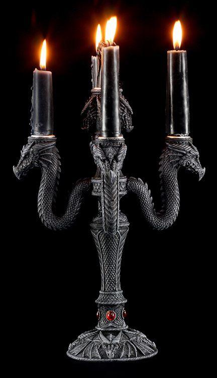 kerzenhalter drachenk pfe 5 fach gothic tischdeko fantasy dragon einrichtung ebay. Black Bedroom Furniture Sets. Home Design Ideas