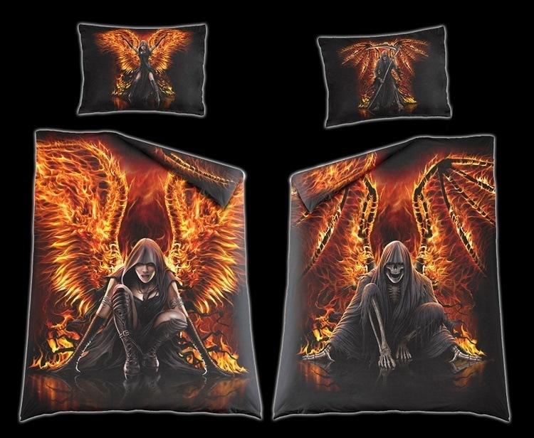 Fantasy Bettwäsche - Flaming Death - Gothic Bettdecke Einrichtung ...