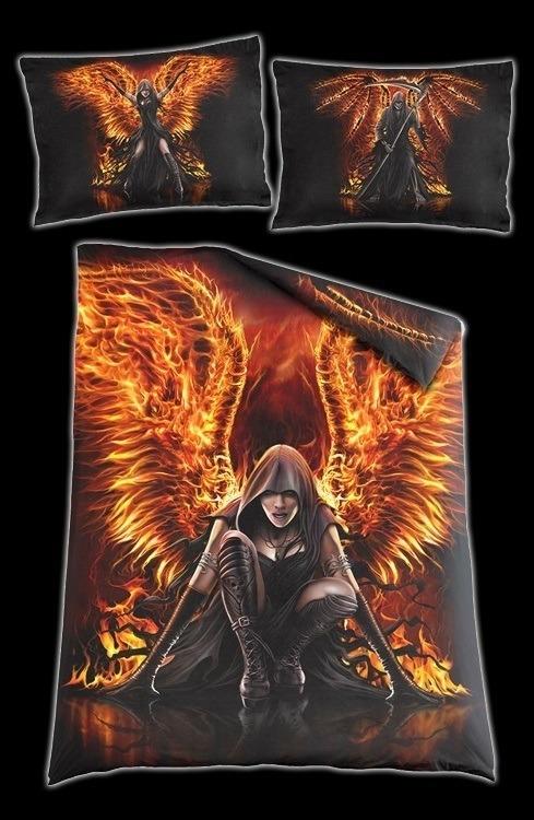 fantasy bettw sche flaming death gothic bettdecke. Black Bedroom Furniture Sets. Home Design Ideas
