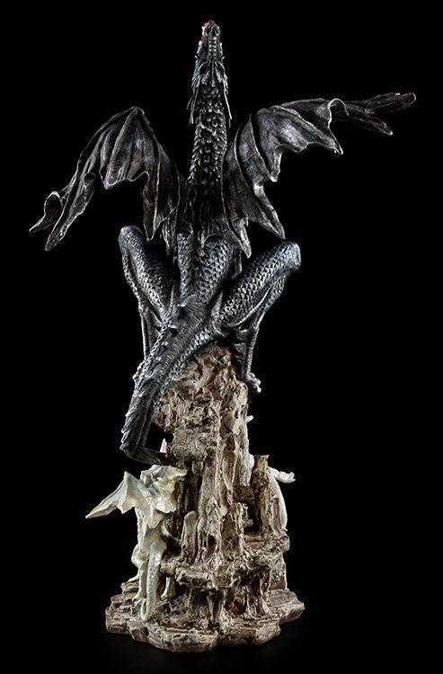 gro e drachen figur schwarz wei dragons rage mutter kinder jungtiere babys ebay. Black Bedroom Furniture Sets. Home Design Ideas