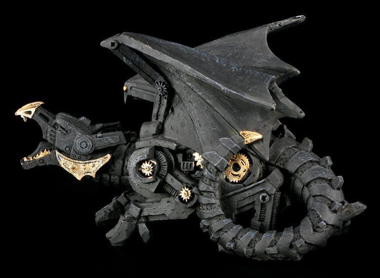 schwarzer steampunk drache deko figur gothic fantasy ebay. Black Bedroom Furniture Sets. Home Design Ideas