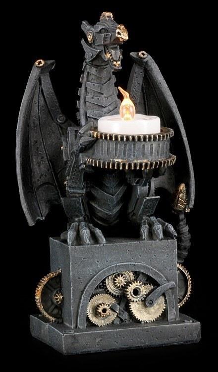 led teelichthalter steampunk drache deko figur fantasy gothic 4260368223510 ebay. Black Bedroom Furniture Sets. Home Design Ideas