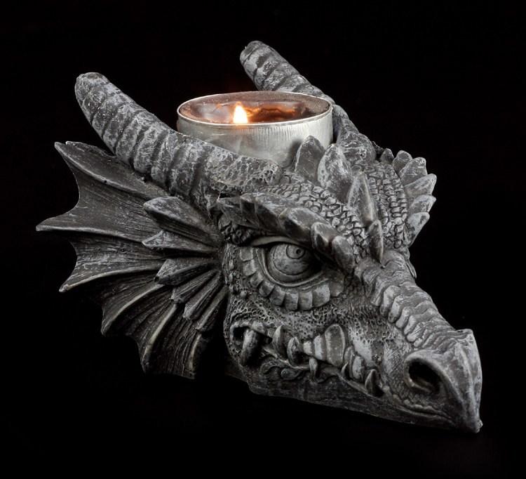 Drachenkerzenhalter Drachenkopf Dragon Gothic
