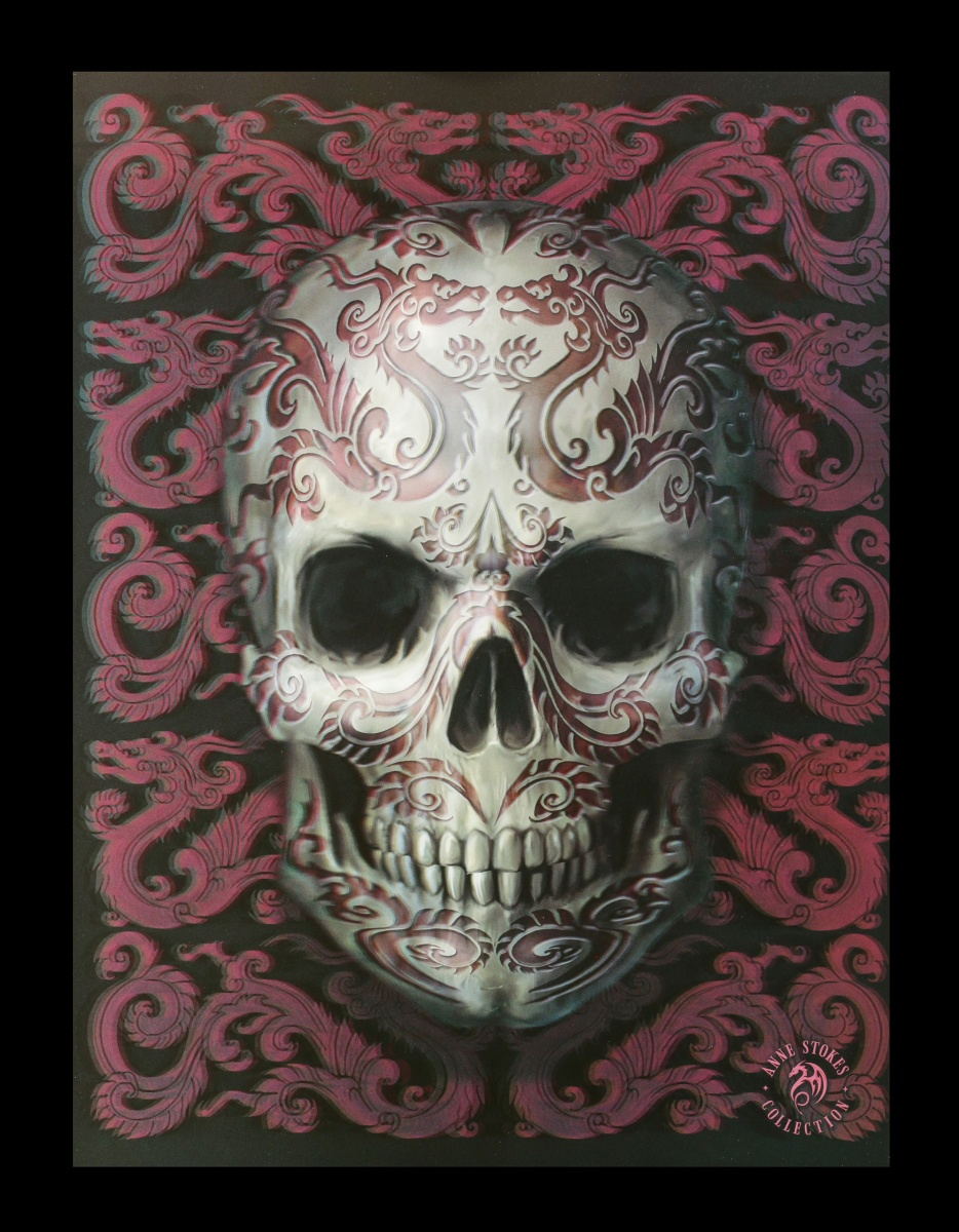 3D Bild mit Totenkopf - Oriental Skull - Anne Stokes Fantasy Druck ...