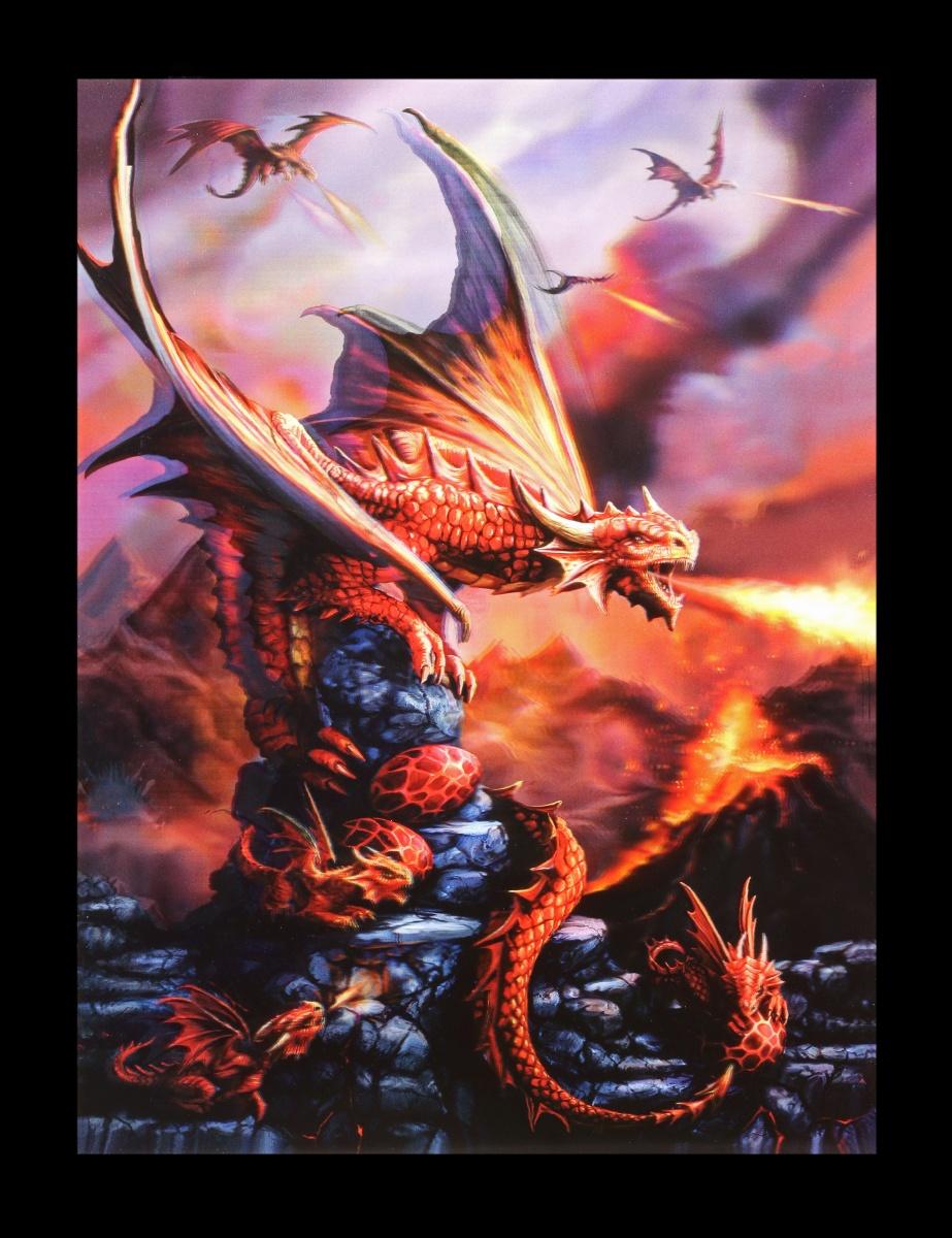 3D-Bild Anne Stokes Drache - Fire Dragon - Fantasy Druck Poster ...