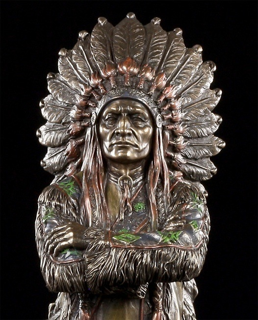 indianer figur h uptling deko statue western veronese bronze optik. Black Bedroom Furniture Sets. Home Design Ideas
