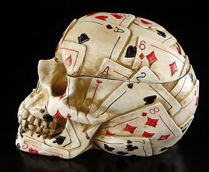 Poker Skull Schädel Figur Spielkarten Totenkopf Dose