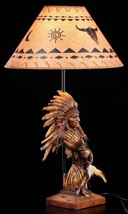 indianer lampe h uptling figur tischlampe western. Black Bedroom Furniture Sets. Home Design Ideas