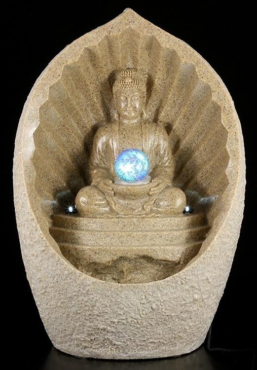 gro er thai buddha brunnen mit led garten deko gartenfigur 4052286151255 ebay. Black Bedroom Furniture Sets. Home Design Ideas